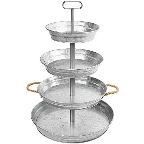 LotFancy 4 Tier Serving Tray, Galvanized Stand with Handles, Farmhouse Style Metal Tiered Tray, Rustic Home Décor for Cupcake, Kitchen, Bathroom, Indoor, Outdoor Party, Also as 3 Tier Serving Tray