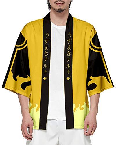 Silver Basic Chaqueta Sudadera con Capucha para Hombre Kimono Cosplay Disfraz Camisa 4XL,Amarillo-1