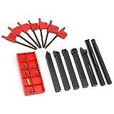 LANTRO JS - 7 juegos de torno de vástago de 10 mm, portaherramientas de torneado, herramienta de barra de perforación, torno de metal + inserto de carburo DCMT CCMT + llave