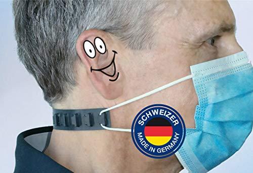 Maskenhalter OHREN-HELD von SCHWEIZER in transparent für Mund-Nasen-Schutzmaske, Masken-Tragekomfort leicht gemacht, Made in Germany, 10er Pack
