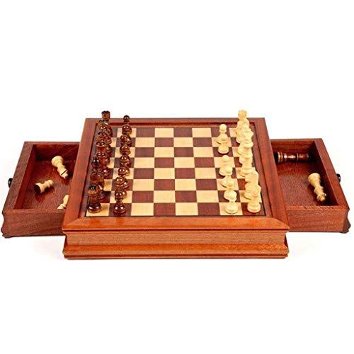 Ajedrez Conjunto de juegos de ajedrez magnético, con cajones de almacenamiento Conjunto de ajedrez de madera con almacenamiento Tablero de juego hecho a mano, Niños adultos Tablero de ajedrez Regalo
