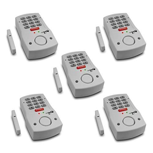 Heitech® 5-delige set deur- en raamalarm met code-ingang, incl. 2 x AA batterijen. Alarmsysteem met bewegingsmelder als inbraakbeveiliging.