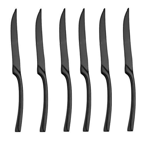 Uniturck Steak Knives 1810 Heavy-Duty Stainless Steel Steak Knife Set of 6 for Chefs Commercial Kitchen - Great For BBQ Weddings - Dinners - Parties All Homes Kitchens Black Steak knife