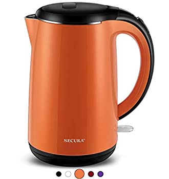 Secura SWK-1701DB The Original Stainless Steel Double Wall Electric Water Kettle 1.8 Quart Orange