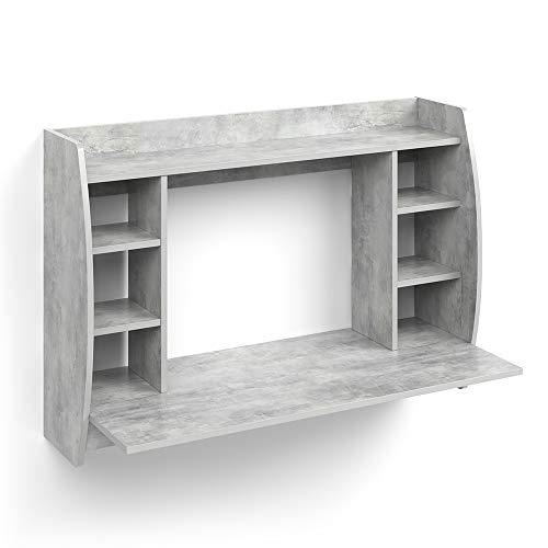 Vicco Scrivania da parete Max Scaffale e tavolo ufficio PC Cemento
