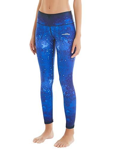 COOLOMG Damen Sport Leggings Yoga Hosen-Fitnesshose, Sk-nachthimmel (Lang), Gr.-L
