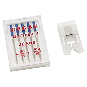 Alfa Set de accesorios de costura especial para vaqueros con agujas + prensatelas de teflón, accesorio para máquina de coser, acero inoxidable