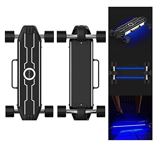FATSW LED-Licht Elektro Skateboard Elektrisches Longboard mit Smart Start und Fernbedienung, Höchstgeschwindigkeit 28km/h, bis zu 25km Reichweit, Aluminiumlegierung für Jugendliche Erwachsene