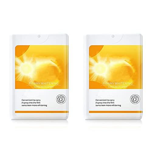 2Pcs Petite Sunscreen Spray, Sun Cream Spray Travel Size, Sport Sunscreen Spray, Whitening Sunscreen Spray, Sun Cream Spray for Body, 20g Uv Protection, Refreshing and Not Greasy