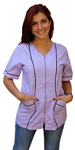 Petersabitidalavoro Bata de trabajo, color liga y casaca para mujer, con cremallera, inserto negro, para esteticista, peluquería o guardería Glicine S