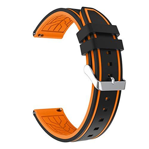 ZLRFCOK Silicona Soft Sport Wamkband 20mm 22mm 24mm 26mm Buceo de Goma Hombres Impermeables Reemplazo Pulsera Banda Correa Reloj Accesorios (Band Color : Black Orange 02, Band Width : 24mm)