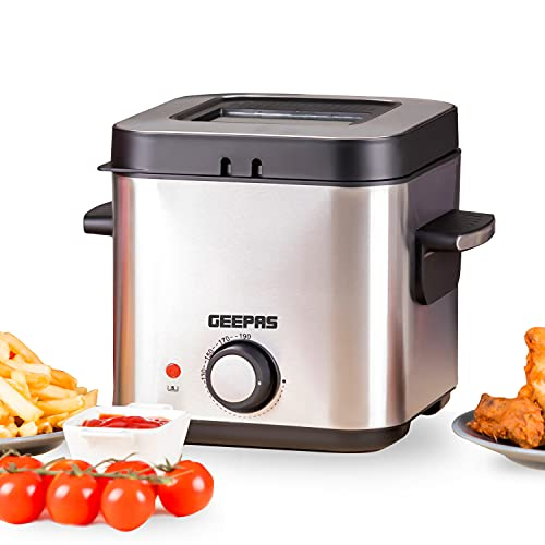 Geepas Deep Fat Fryer, 900W | 1.5L Stainless Steel Fryer with Viewing...
