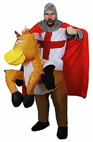 Ritter-Kostüm + aufblasbares Pferd mit befestigten Beinen, perfekt für Englische Flagge, Fußballfans, Junggesellenabschied, St Georges Day, England-Flagge, lustiges Pick-Me Up-Accessoire (Gross)