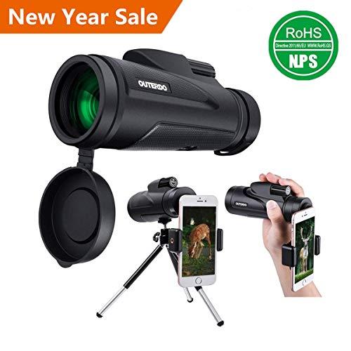 Monokulare Teleskope, OUTERDO 12x50 Niedrige Nachtsicht Spektiv für Erwachsene mit Handy-Fotografie-Adapter und drahtlose Kamera Auslöser Fernbedienung für Vogelbeobachtung / Jagd / Camping / Reisen