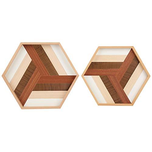 Juego de 2- QUEENSDOWN Bandeja decorativa hexagonal para servir, de madera resistente, hecha a mano, ideal para bandejas de cena / mesa de centro / mesa de decoración