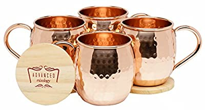 Advanced Mixology Moscow Mule 100% Pure Copper Mugs (Set of 4)- 16 Ounce with 2 Artisan Hand Crafted Wooden Coasters-Classic