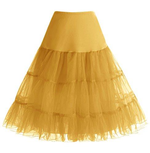 HomRain 1950 Petticoat Vintage Retro Unterrock Reifrock Underskirt Crinoline für Rockabilly Kleid Festliche Damenrock Gold S