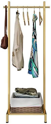 Percheros Sombrero  Perchero Estilo nórdico Solid Wood Coat Rack, Ropa de Arte de Hierro Recubrimiento de soporte, soporte de riel de ropa, con 1 estante de almacenamiento de varilla colgante para sal