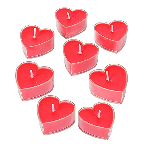 Red Heart Tealight Candles – Pack of 8 - Perfect Valentine's Day Gift – Popular Choice for Accent Lighting – Romantic Ambience – Cosy Atmosphere for You and Your Valentine – Love is in The AIR