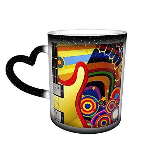 maichengxuan Taza de café con texto en inglés 'Rainbow Note Guitar Music Coffee Mug Funny Color Change Travel Mug Taza cerámica sensible al calor