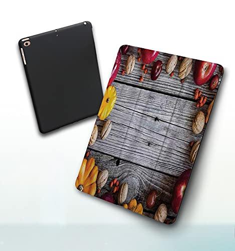 Funda para iPad 9,7 Pulgadas, 2018/2017 Modelo, 6ª / 5ª generación,Manzanas Personalizadas Modernas Modernas del Arte de la impresión rústica de Madera Smart Leather Stand Cover with Auto Wake/Sleep