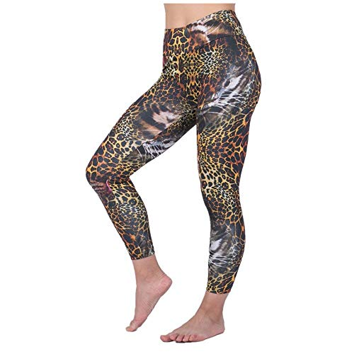 DSCX Nuovo Modello Leopardo da Donna Traspirante Pantaloni da Yoga Pantaloni Fitness Pantaloni Sportivi a Vita Alta Confortevole Nero M