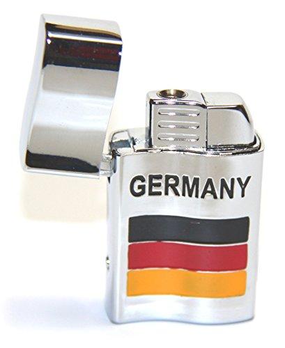 """1stk. Sturmfeuerzeug \""""Deutschland\"""" mit roter Sturmflamme und Licht"""