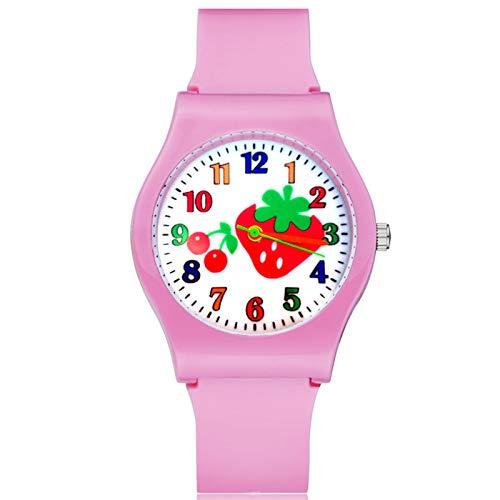 SFBBBO Reloj niño Moda Lindo Estilo Fresa niños Estudiante niña niños Cuarzo Correa de Goma Relojes de Pulsera Rosa