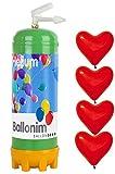 Ballonim Einweg Ballongas Helium Flasche mit 30 Herz Ballons Ø 30cm, 0,22m³ (rot)