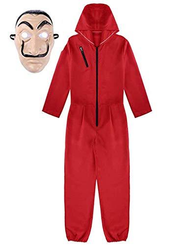 Lecoyeee Unisex Niños Adultos Disfraz de Ladrón La Casa de Papel con Máscara Traje de la Casa de Papel Mono Rojo Careta Disfraz de Ladrón Dalí para Cosplay Carnaval Navidad Halloween