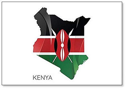 Kühlschrankmagnet, Motiv: Karte von Kenia mit offizieller Flagge