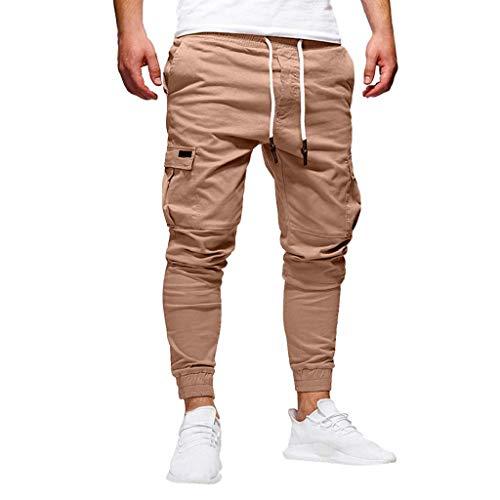 QUICKLYLy Pantalones Vaqueros Hombre Pitillo Rotos Chandals Trekking Skinny,Moda Hombre Deporte Color Puro Vendaje Casual Pantalones Sueltos con Cord/ón Blanco,M