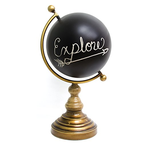 Stratton Home Decor Chalkboard Globe Table Top Decor, 9.45 W X 8.66 D X 17.32 H, Multi