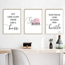 dayanzai Boss Lady Print Girl Boss Sign Quote Typography Poster Women Office Wall Art Decoration Painting Canvas Pictures Woman Boss Gift/40x50cmx3Pcs-No Frame