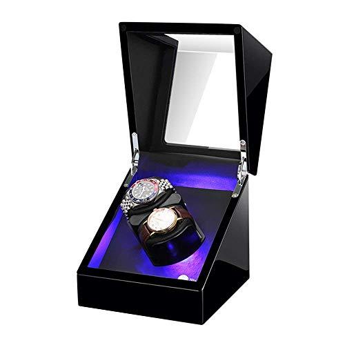 AMAFS Caja de enrolladoras de Reloj Doble para Relojes automáticos Almohada de Reloj Suave y Flexible Iluminación LED incorporada Motor silencioso Festival