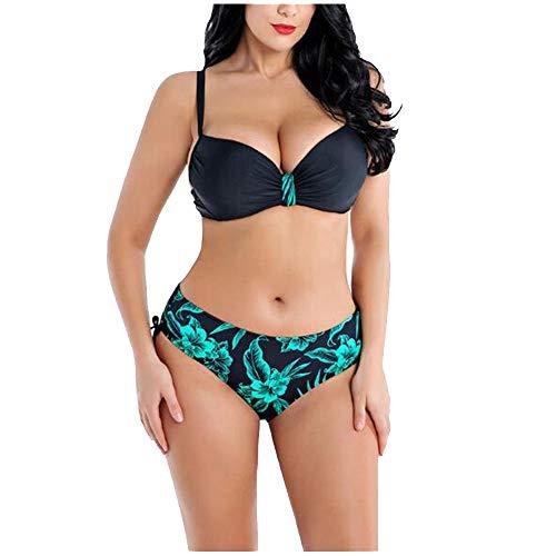 SGJFZD Big Size Women's Swimsuit dames Retro Split Bikini Print Underwire Verzamel Oversized Swimwear (Color : 01, Size : XXXXXXXL)