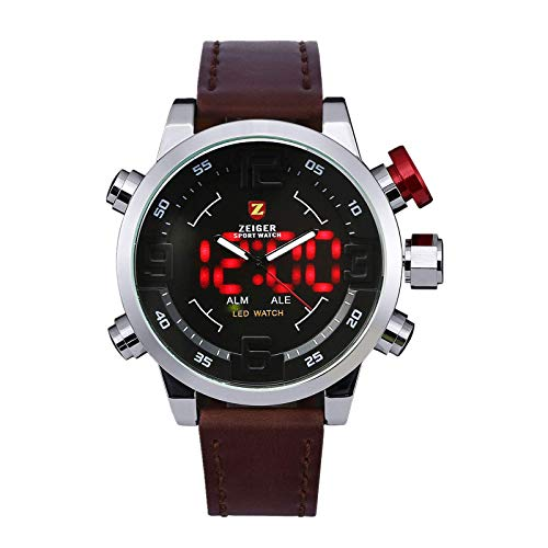 KZKR Herren Armbanduhr Braun LED Analog Quarz Uhr Leder Armband Datum Tag...
