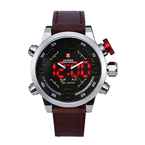 KZKR Herren Armbanduhr Braun LED Analog Quarz Uhr Leder Armband Datum Tag Licht Wecker W297