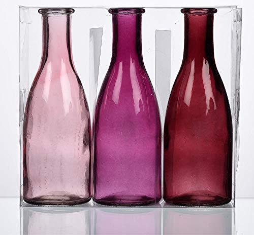 Matches21 - Juego de 3 botellas de cristal decorativas de 6,6 x 18,5 cm de diámetro, jarrones decorativos, tonos rojos, rosa/morado/rojo vino