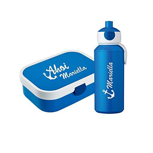 4you Design - Brotdosen Sets für Kinder in Blau, Größe Box: 17,8 cm / 13,2 cm / 6,1 cm; Flasche: 18,4 cm