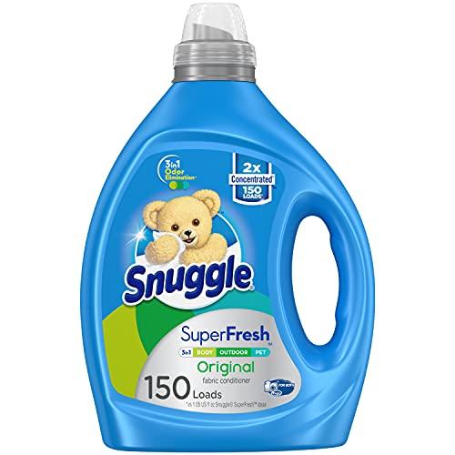 Snuggle Liquid Fabric Softener, SuperFresh Original, Eliminates Tough Odors, 150 Loads (Packaging May Vary)
