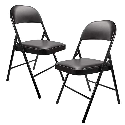 Black Folding Chairs with Padded Seats YJHome Metal Folding Chairs 2 Pack Portable Foldable Dining Chairs Home Office Student Study Chair 200 lbs Weight Capacity for Kids Desk Indoor Bedroom Room