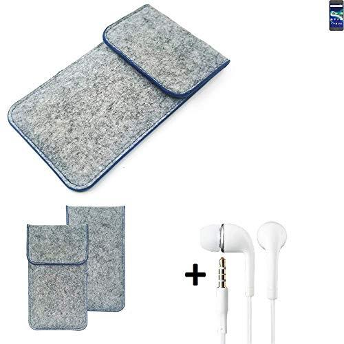 K-S-Trade Filz Schutz Hülle Für General Mobile GM 6 Schutzhülle Filztasche Pouch Tasche Handyhülle Filzhülle Hellgrau, Blauer Rand + Kopfhörer