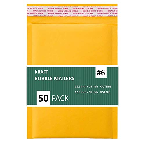 """Sales4Less #6 Kraft Bubble Shipping Padded Envelopes Self Seal Waterproof Cushioned Mailer, 12.5 x 19"""", Gold (Pack of 50)"""