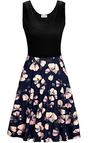 KorMei Damen Ärmelloses Beiläufiges Strandkleid Sommerkleid Tank Kleid Ausgestelltes Trägerkleid Blau Blume XL