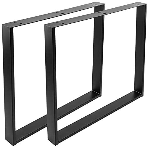 PrimeMatik - Pies rectangulares para Mesa. Patas en Acero Negro 800 x 80 x 730 mm 2-Pack