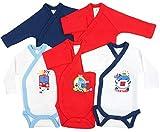 5er Pack Baby Jungen Bodys Wickelbodys Langarm Baumwolle, 68 (6M), Mehrfarbig