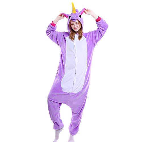 LSHEL Erwachsenen Tier Pyjama Jumpsuit Cosplay Unisex Cartoon Karneval Halloween Kostüm Fleece Overall Pyjamas, Lila Pferd, XL (empfohlene Höhe 173-186 cm)