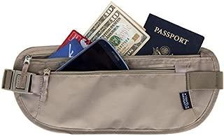Money Belt - RFID Blocking Travel Wallet For Passport, Money, Credit Card, Documents, and Phone - Tan