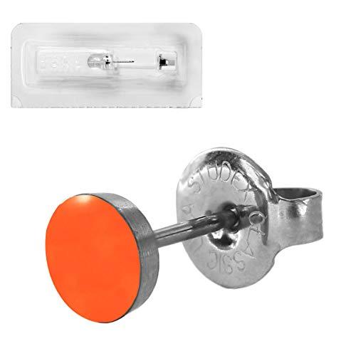 Erstohrstecker Chirurgenstahl Sterile Ohrstecker Ohrringe Emaille Farbe Orange